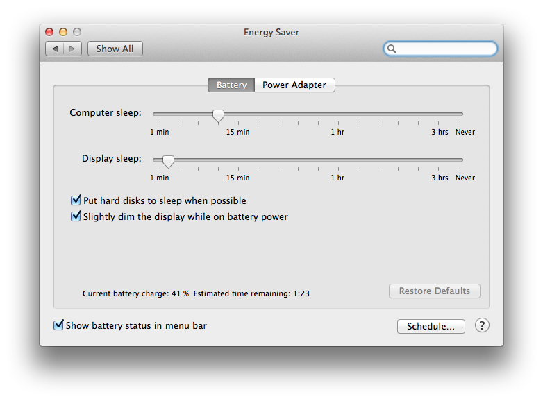 Energy Saver System Preferences в OS X Маверикс